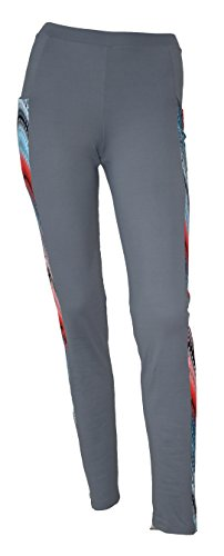 Private Island Hawaii Women UV Rash Guard Leggings Long Pants Surfing Sun Protection Swimming Suit Wide Color Scheme with Both Side Pocket Grey with Waves Crest Medium
