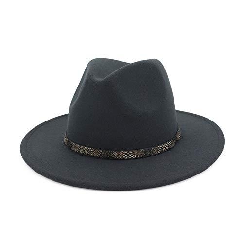 Vim Tree Men & Women's Wide Brim Fedora Hat with Band Unisex Felt Panama Cap D-Grey L (Head Circumference 22.8