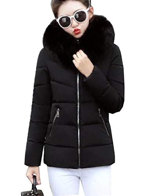 Xiaohuoban Short Hoodie Women Warm Down Fur Giacche Cappotti Trim Faux nY1Yrwgx4q