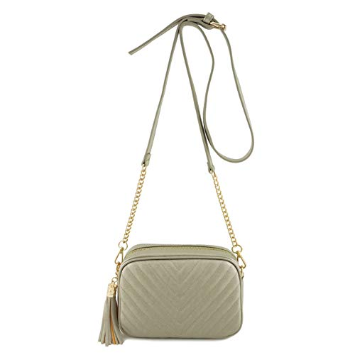 Simple Shoulder Crossbody Bag With Metal Chain Strap And Tassel Top Zipper (Pewter)