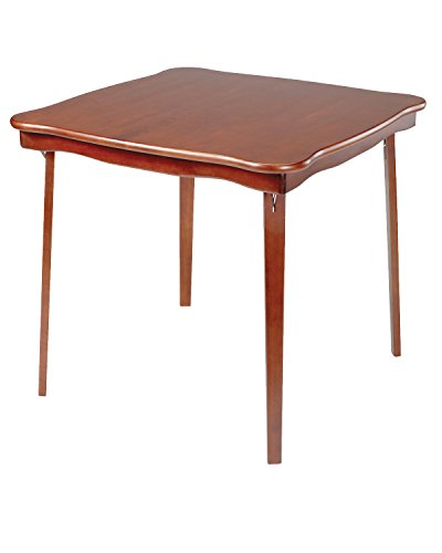 (Stakmore Scalloped Edge Folding Card Table Finish, Cherry)