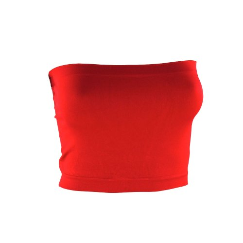 Kathy Women's Strapless Bra Cropped Seamless Tube Top Stretch Sport Bandeau-One Size-Red ()