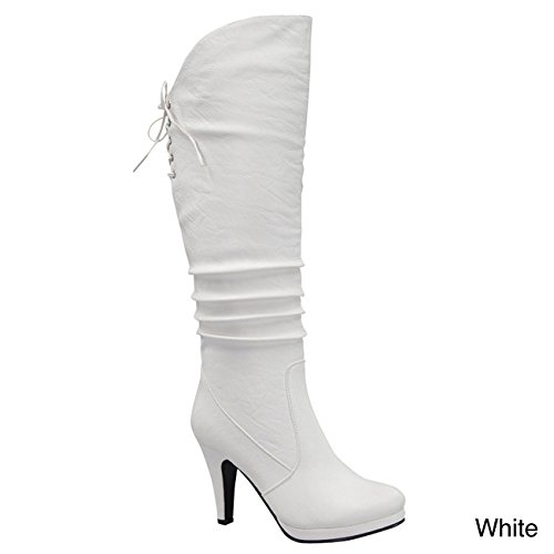 Top Moda Win-40 Women's Knee Thigh High Platform Round Toe Boots