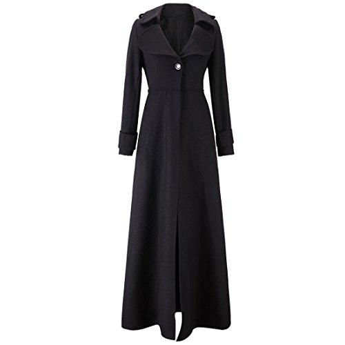 LANMWORN Women Ultra Long Outerwear,Slim Lapel Full Length Wool Maxi Coat Overcoat Jacket Windbreaker Trench (Womens Full Length Overcoat)
