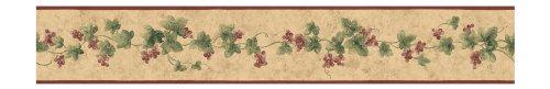 York Wallcoverings Small Treasures Textured Ivy Grape Prepasted Border, Tan/Green/Cranberry (Ivy Vine Wallpaper Border)