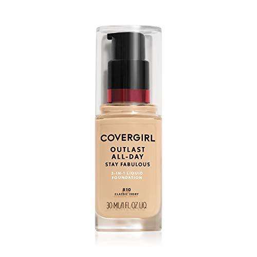 COVERGIRL Outlast All-Day Stay Fabulous 3-in-1 Foundation, 1 Bottle (1 oz), Classic Ivory Tone, Liquid Matte Foundation…