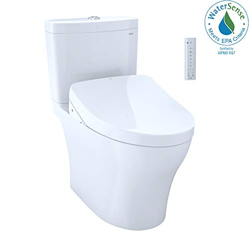 TOTO MW4463056CEMG#01 Aquia IV Two-Piece Elongated Dual Flush 1.28 and 0.8 GPF Toilet and Contemporary WASHLET S550e Bidet Seat, Cotton White