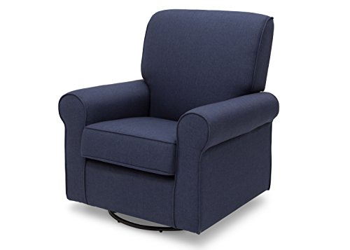 Delta Children Avery Upholstered Glider Swivel Rocker Chair, Sailor Blue (Childs Upholstered Rocker)