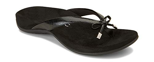 Vionic Women's Rest Bella II Toepost Sandal - Ladies Flip Flop with Concealed Orthotic Arch Support Black Lizard 10 W US