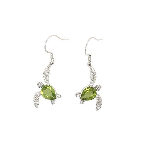 Sterling Silver 925 Peridot Birthstone Turtle Hook Earrings