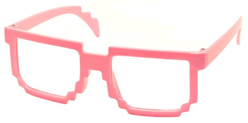 FancyG® Retro Classic 8-Bit Pixel Geek Gamer Pixelated Glass Frame for Kids NO LENS - - Glasses Bit 8 Prescription