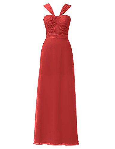 Long Party Alicepub Red Chiffon Line Gown A Dress Ball Evening Maxi Bridesmaid Dress qBf0Cwq