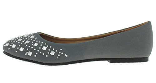 Capelli New York Dames Kunstleer Flat Met Diamantpatroon Edelstenen Grijs