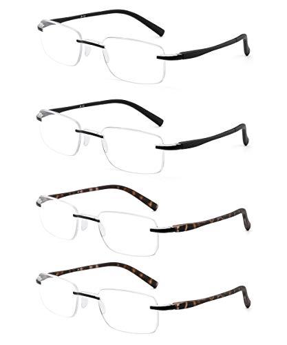 JM Set of 4 Rimless Reading Glasses Lightweight Rectangular Readers for Men Women -