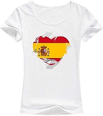 White Spain Flag T-Shirt For Women