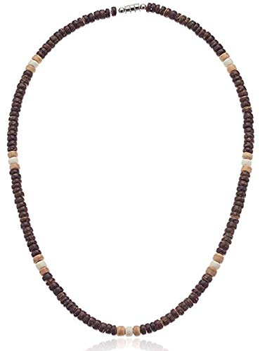 Native Treasure 24 inch Men's Brown, Tan and Cream Wood Coco Bead Necklace - 5mm (3/16