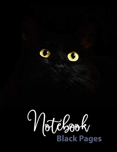 Notebook Black Pages: 110 pages of 8.5'x 11'. Blank Black Paper Journal with Lined Pages: for creative note taking or journaling at school, class, and ... and Metallic gel pens/markers, Gel ink pens