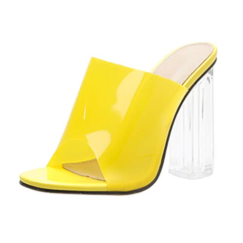 Midress Women's Sandal Slide Summer Casual Fashion Crystal Transparencies Slippers Open Toe Block High Heels Shoes Slip On