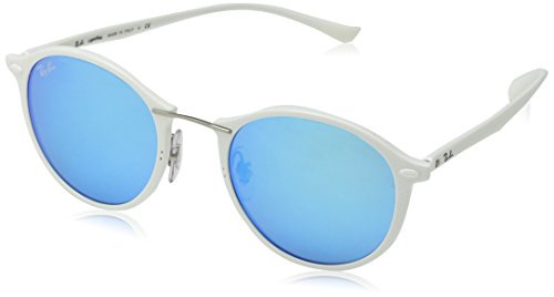 Ray-Ban INJECTED UNISEX SUNGLASS - SHINY WHITE Frame GREEN MIRROR BLUE Lenses 49mm - White Bans Ray
