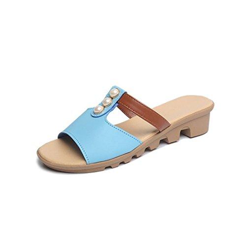 Pantofole Casual Da Donna In Pelle Da Spiaggia Estiva In Pelle Blu 668