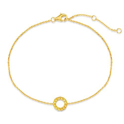 Friendship Of Bracelet Circle (Carleen 14K Solid White/Rose Gold Open Circle Forever Love Friendship Bracelet)