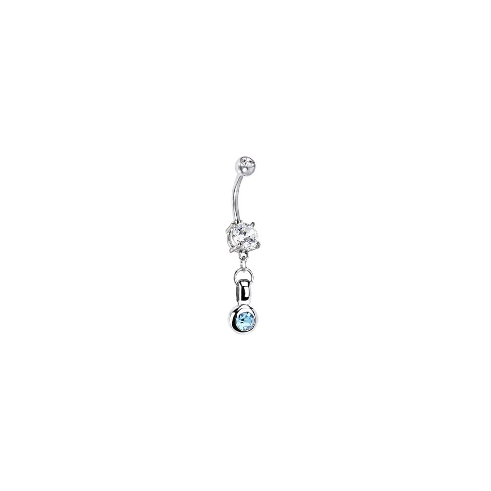 Handcrafted Sterling Silver Aqua Circle Belly Ring Jewelry