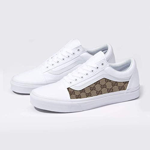 d09e3965a3a7d Vans White Old Skool x GG Pattern Custom Handmade Uni-Sex Shoes By Patch  Collection