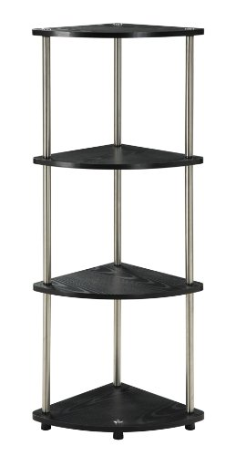 Convenience Concepts Designs2Go X-Tra Storage 4-Tier Corner Shelf, Black (48h 4 Shelf)