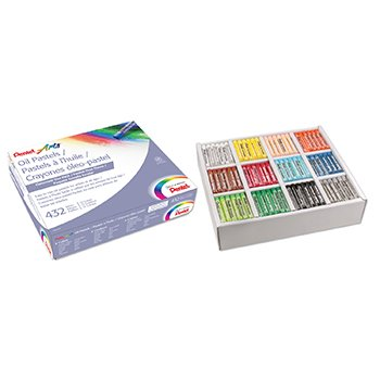 Assorted Pentel PHN12CP Oil Pastel Set with Carrying Case,12-Color Set 432//Pack