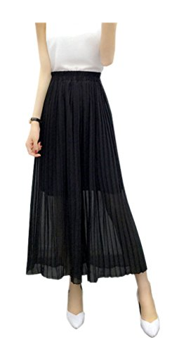ARJOSA Women's Pleated Palazzo Pants 3/4 Wide Leg Straight Cropped Trousers (M, Black) (Wide Leg Career Pant)