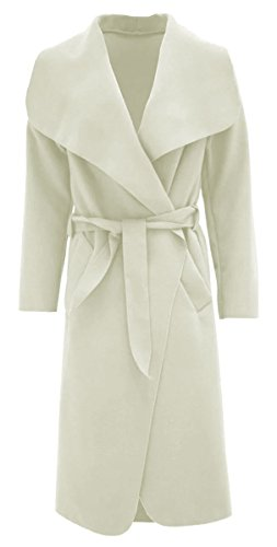 Thever Women Ladies Celb Long Sleeve Wool Wrapped up Draped Belted Coat Cape (One SZ Plus(12-14), Cream) (Ivory Coat)