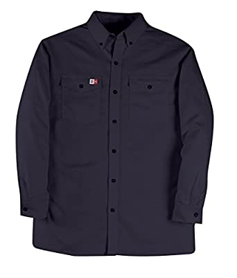 Big Bill 147BDUS7//OS-NAY-4XL-T FR Shirt 4X-Large Tall Button Down Dress Shirt 7 oz Westex Ultrasoft Navy
