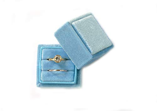 Velvet Square Single Ring Box, Photography Prop, Vintage Wedding Ceremony Ring Box with Detachable Lid, Engagement Ring Box Holder, Modern Slim Ring Box Display (Dusty Sky Blue, Double Ring - Ring Double Box