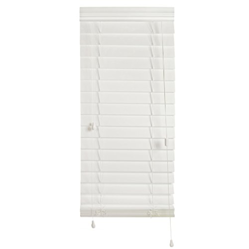 """Luxr Blinds Custom-Made 2 ½"""" Slats Faux Wood Horizontal Routless Privacy Blinds with Easy Mount Valences- Compatible to Room Darkening Blackout Window Shades- White, 43'x60'"""