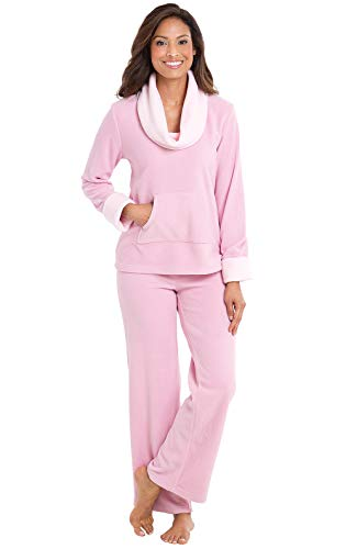 PajamaGram Valentine's Pajamas Super Soft - Fleece Pajamas Women, Pink, M, 8-10