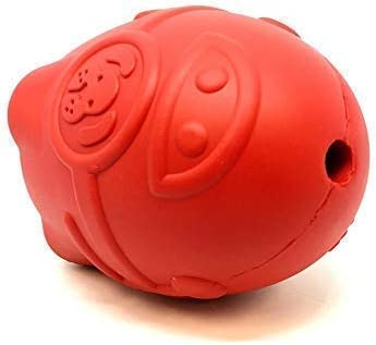 Spotnik by SodaPup - Natural Rubber Rocketman Treat Dispenser - Chew Toy - Slow Feeder - Made in USA - For Heavy Chewers - Red - Large