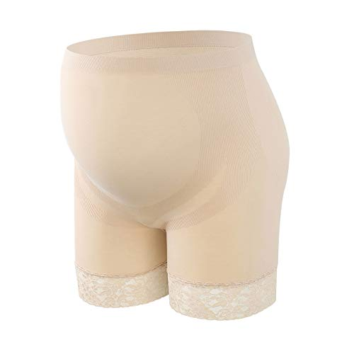 Fimage Seamless Lightweight Maternity Panties Lace Women's High Stretch Pregnancy Underwear Skin XL Beige