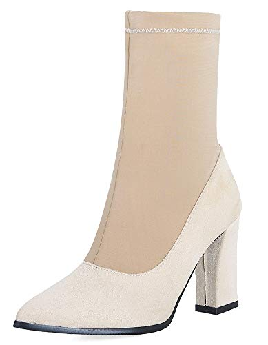 Travail Chunky Sexy Beige Chaussures Talon Mollet Haut Botte Femme HwxO8O