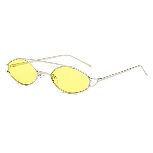 DSGER&SGLS Small Narrow Oval Sunglasses Unisex Metal Frame Yellow Black Sunglasses Sun Glasses UV400 03]()