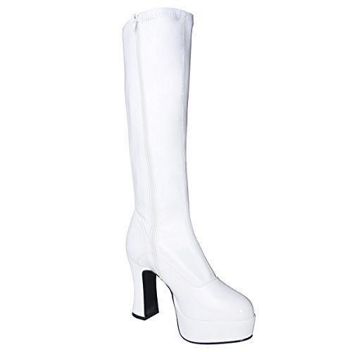 4 Inch Sexy Knee High GOGO Boot Chunky Heel Mid Platform Size: 7 Colors: White (White Gogo Boots Cheap)