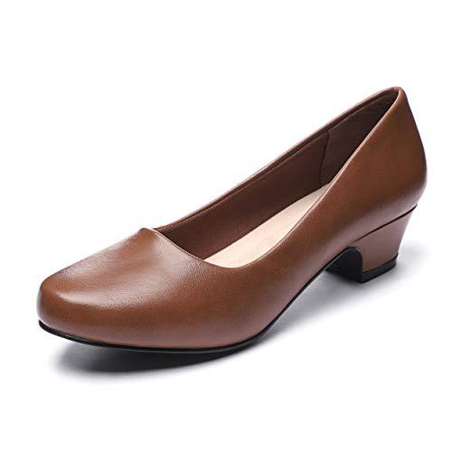 GUCHENG Chunky Heels Pumps Low Shoes Women's - Dress Ladies Heel Comfortable - Formal Width Black Brown White Wedding Shoes (7 M US,Brown