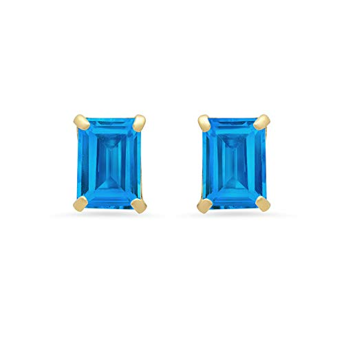 14k White or Yellow Gold Solitaire Emerald-Cut Swiss Blue Topaz Stud Earrings (7x5mm)