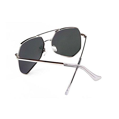 Plata La Con Plata La Sol De Polarizadas Gafas LIZHIQIANG De Lentes Gafas Sol De Color Contacto Largos Poligonales wA1qnT46
