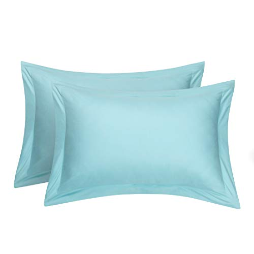 uxcell Pillow Shams Oxford Pillow Cases Egyptian Cotton 300 Thread Count Solid/Plain Pattern Light Blue 20 x 26 Inch Set of 2