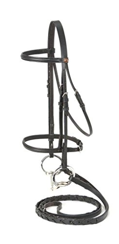Silver Fox Raised Snaffle Bridle Black Horse (English Bridle With Reins)