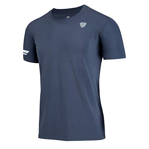 Men's Summer Sports Fitness Fast Dry Clothes Sports Short Sleeves Top Gray