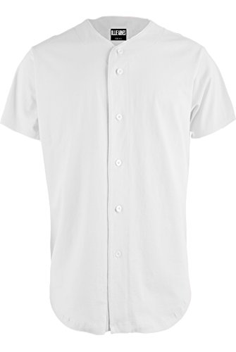 OLLIE ARNES Men's Athletic-Inspired Basic Button-Down Baseball Jersey Plain_White L