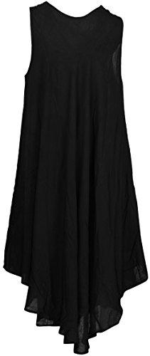 de LA sin Las a144 Ocasional Playa Negro Mujeres Corto LEELA cómodo de Maxi sólida Mangas Vestido rayón qnx1rH8wq7