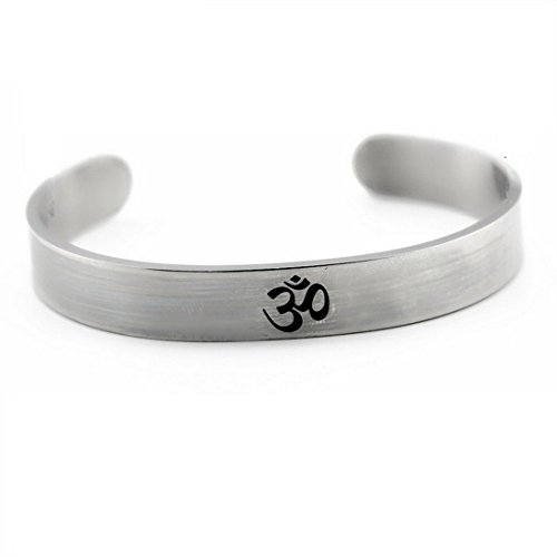 MengPa Indian Stainless Steel Cuff Bangle Bracelet for Men Sanskrit OM Sign Jewelry ()