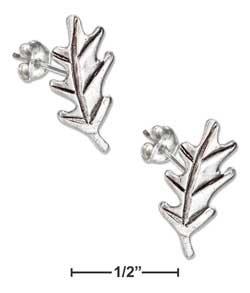 (Sterling Silver Mini Oak Leaf Earrings On Posts)